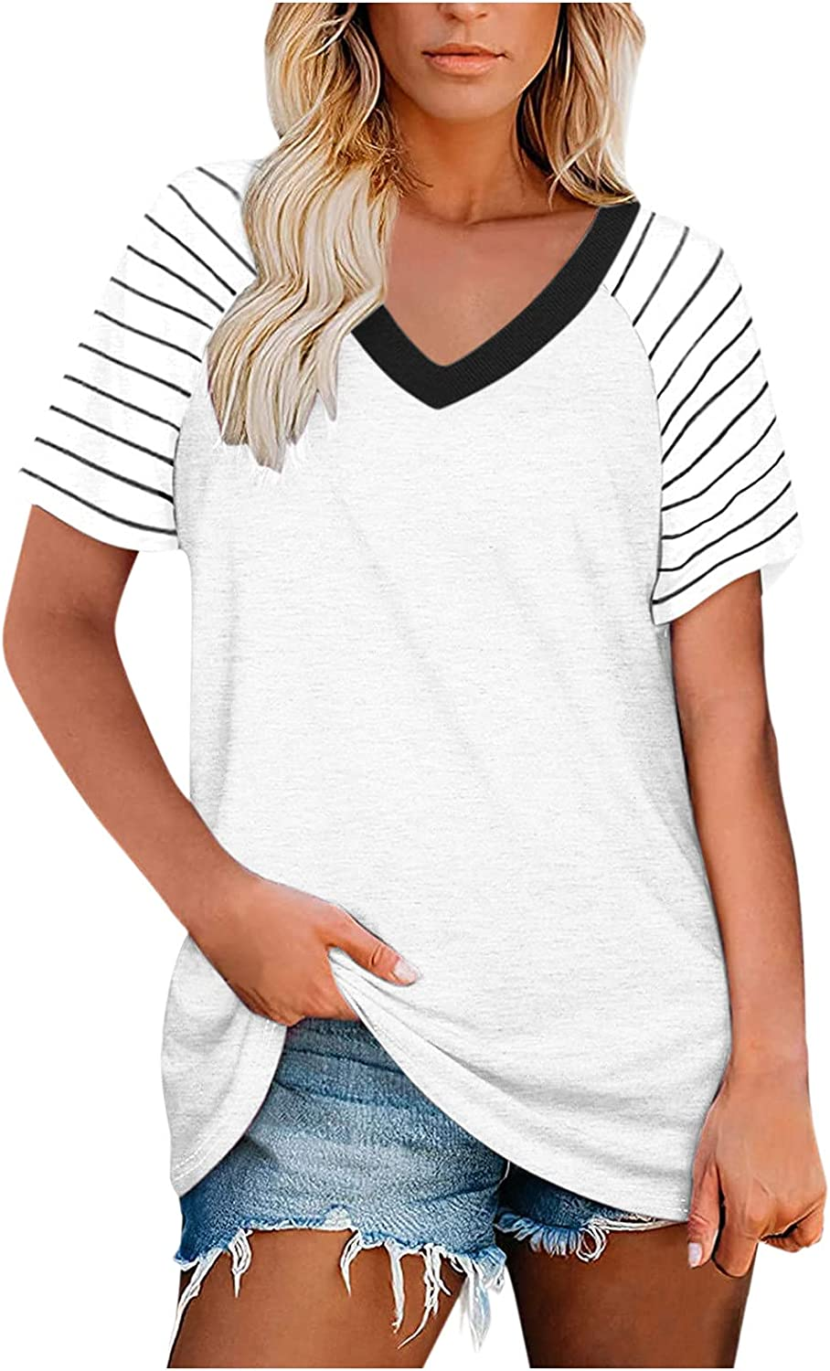 XINXX Summer Tops for Women, Womens Fashion Stripe V Neck Tank Top Short Sleeves T Shirts Casual Loose Tunic Blouses
