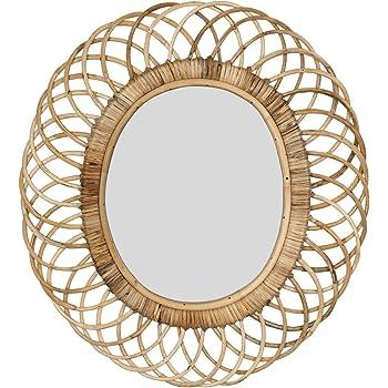 Creative Co-op Oval Woven Bamboo Wall Mirror, Brown