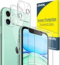 "[ 4 Pack] JDHDL for iPhone 11 Camera Lens Protector and Tempered Glass Screen Protector HD Clear 6.1"", 9H Hardness Flashlight Friendly Replacement Warranty"