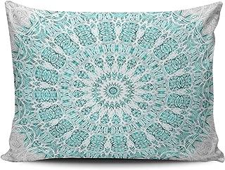 Lerana Decor Custom Green Glittering Mandala Aqua Mint Turquoise Pillowcase Rectangle Zippered One Side Design Printed 20x26 Standard Pillows Throw Pillow Cover Cushion Case Covers