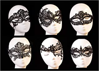 Ru S Women's Black Lace Mask Party Ball Masquerade Fancy Dress Masks Pack of 6