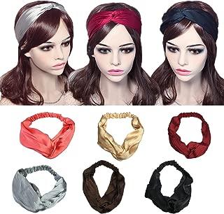YSJOY 6 Pack Women Girls Silk Satin Headbands Solid Color Elastic Hairband Twisted Turban