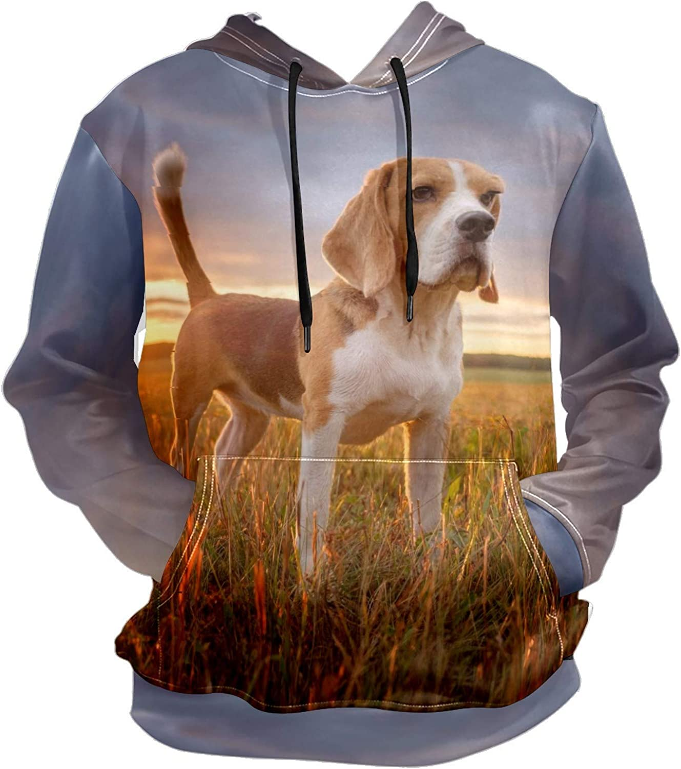 Men's Sport Hoodie Determined Dog Puppy Sunset Big and Tall Hoodies for Men Women Oversized Hooded Sweatshirt Hip Hop Pullover Hoodie Midweight Hood for Boys Girls