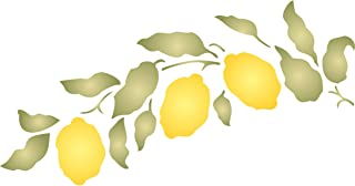 """Lemon Branch Stencil - (size 12.5""""w x 6.5""""h) Reusable Wall Stencils for Painting - Best Quality Fruit Kitchen Stencil Ideas - Use on Walls, Floors, Fabrics, Glass, Wood, Terracotta, and More…"""