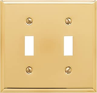 Baldwin Estate 4761.030.CD Square Beveled Edge Double Toggle Switch Wall Plate in Polished Brass, 4.5