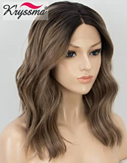 K'ryssma Brown Lace Front Wig for Women Middle Part Half Hand Tied Synthetic Natural Wavy Short Bob Ombre Brown Wig 2Tone Glueless Heat Resistant Realistic Looking Lace Front Brown Wigs
