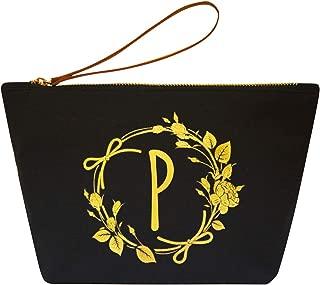 ElegantPark P Initial Monogram Personalized Travel Makeup Cosmetic Bag Wristlet Pouch Gifts Black with Zipper Canvas