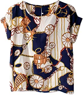 c8d81434fd Vobaga Women's Bird Heart Geometric Print Short Sleeve Chiffon Top T-Shirt  Blouses