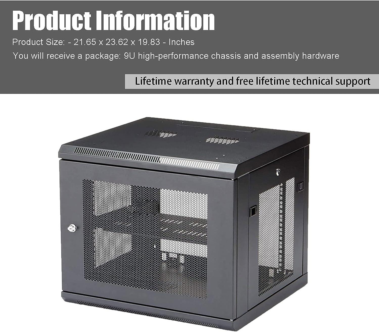 FerruNet9U Wall-Mounted Rack Cabinet Server Cabinet, 16.5 inches deep, ApplytoSmall Office, Home Office.