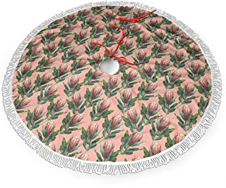 QIUYELONG Protea Flower Watercolor Traditional Christmas Tree Skirt 48 Inch Rustic Xmas Tree Holiday Decorations