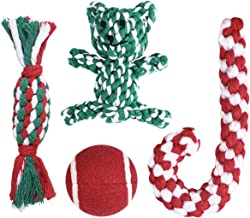 Christmas Stocking Gifts for Dog, Unique for Pets Puppy Chewing Toys Including Red Ball, Candy Cane, Bear Toy and Cotton Knotted Rope