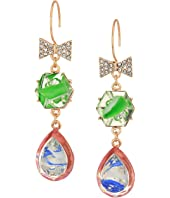 Betsey Johnson - Double Drop Bow Earrings