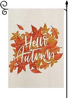 YaoChong Hello Autumn Fall Maple Leaves Garden Flag Vertical Double Sized,Seasonal Farmhouse Burlap Yard Patio Lawn Outdoo...