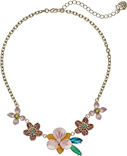 Pink and Gold Tone Multi Flower Frontal Necklace