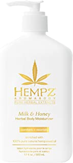Hempz Milk & Honey Herbal Body Moisturizer with Jojoba Seed, Cocoa Butter, 17 oz. - Fragranced, Everyday Body Lotion with Agave Extract to Hydrate Sensitive Skin - Premium Skin Care Products