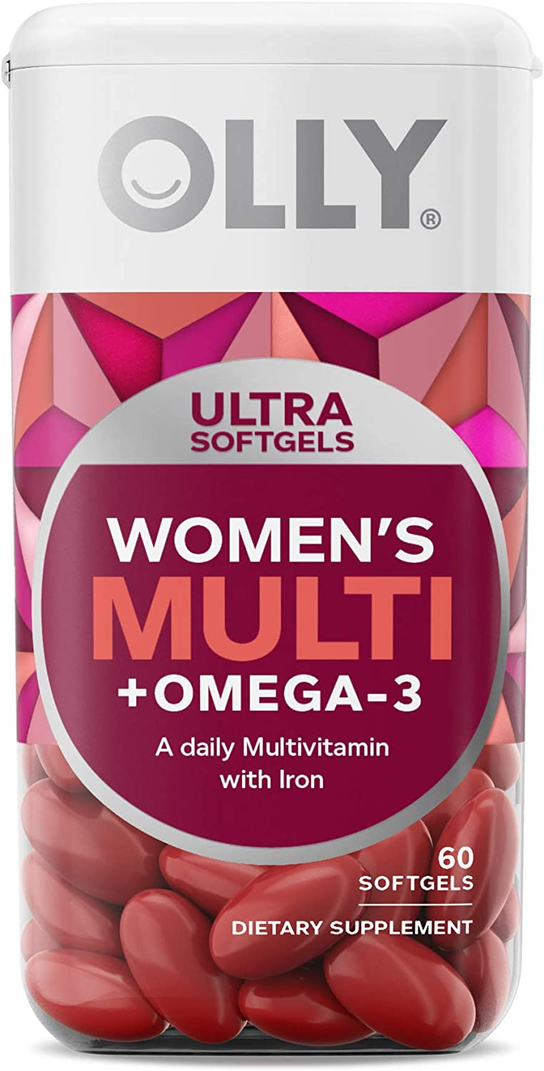 OLLY Ultra Women's Multi Softgels, Overall Health and Immune Support, Omega-3s, Iron, Vitamins A, D, C, E, B12, Daily Multivitamin, 30 Day Supply - 60 Count