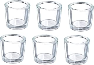 Hosley's Set of 6 Heavy Clear Chunky Glass LED Tea Light Votive Candle Holders - 2.4 High. Ideal GIFT for Weddings Parties...
