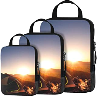3 Set Compression Packing Cubes Travel Luggage-Organizer Set Packs More in Less Space (Camping)