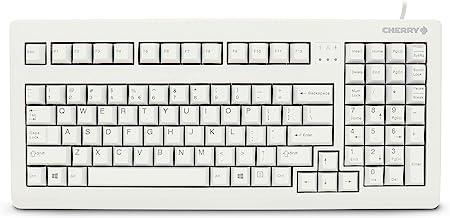 CHERRY G80-1800 Compact Industrial Keyboard - 104 Keys - USB - PS/2- US QWERTY Key Layout - Light Grey