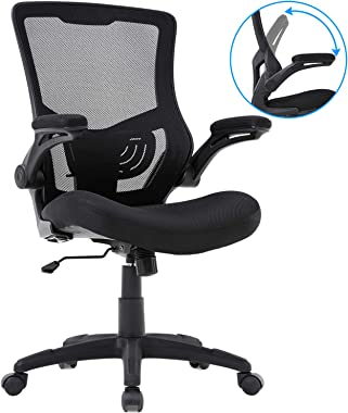 Home Office Chair Mesh Desk Chair Computer Chair with Lumbar Support Flip Up Arms Ergonomic Chair Adjustable Swivel Rolling E