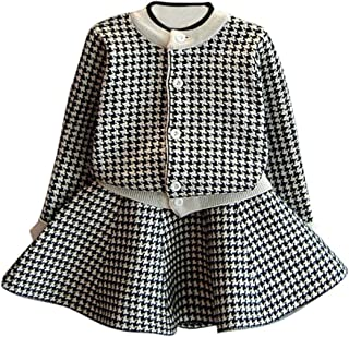 haoricu Winter Girls Dress Autumn Winter Toddler Kids Plaid Knitted Sweater Dress Set Baby Girls Coat Tops+Skirt Set