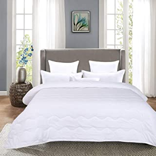 HOMBYS Lightweight King Goose Down Alternative Quilted Comforter King Size - All Season Plush Microfiber - Machine Washable Duvet Insert- Warmth Hypoallergenic Bed Comforter with Tabs(King,White)