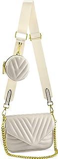 CHIC DIARY Damen Multi Tasche PU Schultertasche Kleine Umhängetasche Handtasche mit Münzetasche Crossbody Bag mit 2 Schult...