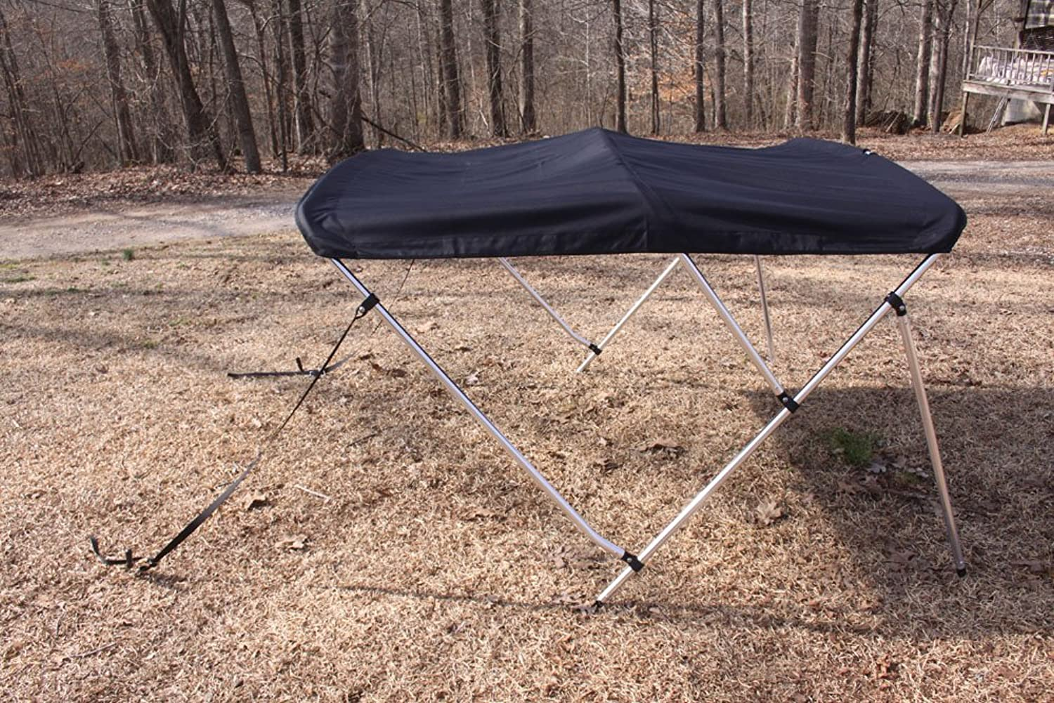 BLACK VORTEX BRAND 3 BOW BIMINI 6' LONG, 6166  WIDE, 46  HIGH, COMPLETE KIT, FRAME, CANOPY, AND HARDWARE (FAST SHIPPING  1 TO 4 BUSINESS DAY DELIVERY)