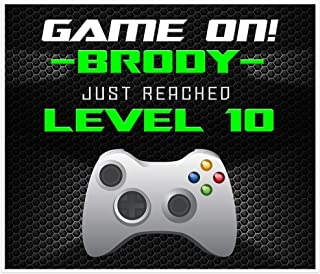 GAME ON Video Gamer Birthday Banner Neon Green Personalized Party Decoration Backdrop