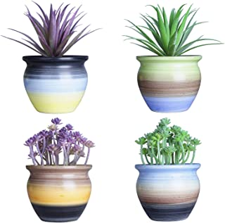 4.5 inch Modern Round Ceramic Succulent Planter Cactus Pots with Drainage Hole Mini Cute Flower Plant Pots Container Small Garden Bonsai Pot for Indoor Plants, Set of 4