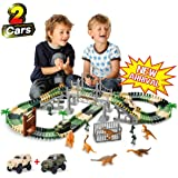 TTOUADY Christmas Dinosaur Toy Trains Race Car Extended 158 Tracks 2 Cars 6 Dinosaurs