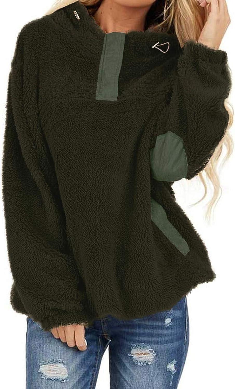 WUAI-Women Fuzzy Fleece Hooded Sweatshirt Winter Warm Oversized Loose Sherpa Pockets Pullover Tops Coat