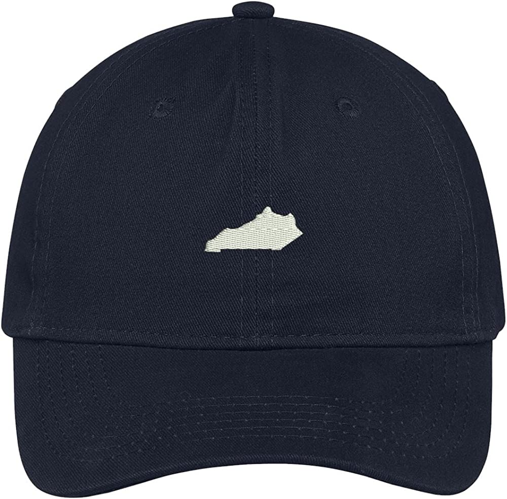 Trendy Apparel Shop Kentucky State Map Embroidered Low Profile Soft Cotton Brushed Baseball Cap