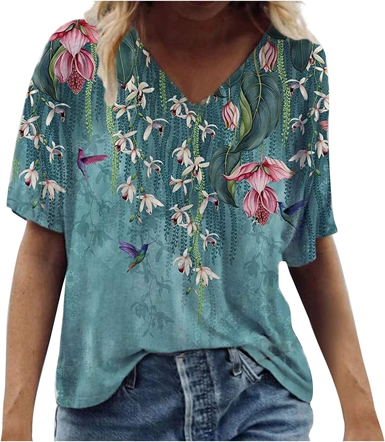 Women'sPlus Size Tops Fashion Casual Loose Short Sleeve T-Shirt Scenic Flowers Printing Round Neck