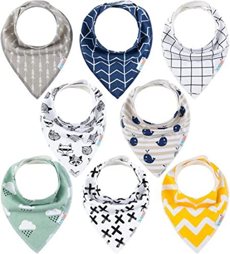 ALVABABY Baby Bandana Drool Bibs 8 Pieces of Drooling Teething Feeding Super Absorbent Cotton and Polyester For Boys ...