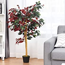 FANTASK 4 ft Tall Green Fake Ficus Tree in Nursery Pot, Artificial Tree Realistic Greenery Plants Decorative Trees, Cement...