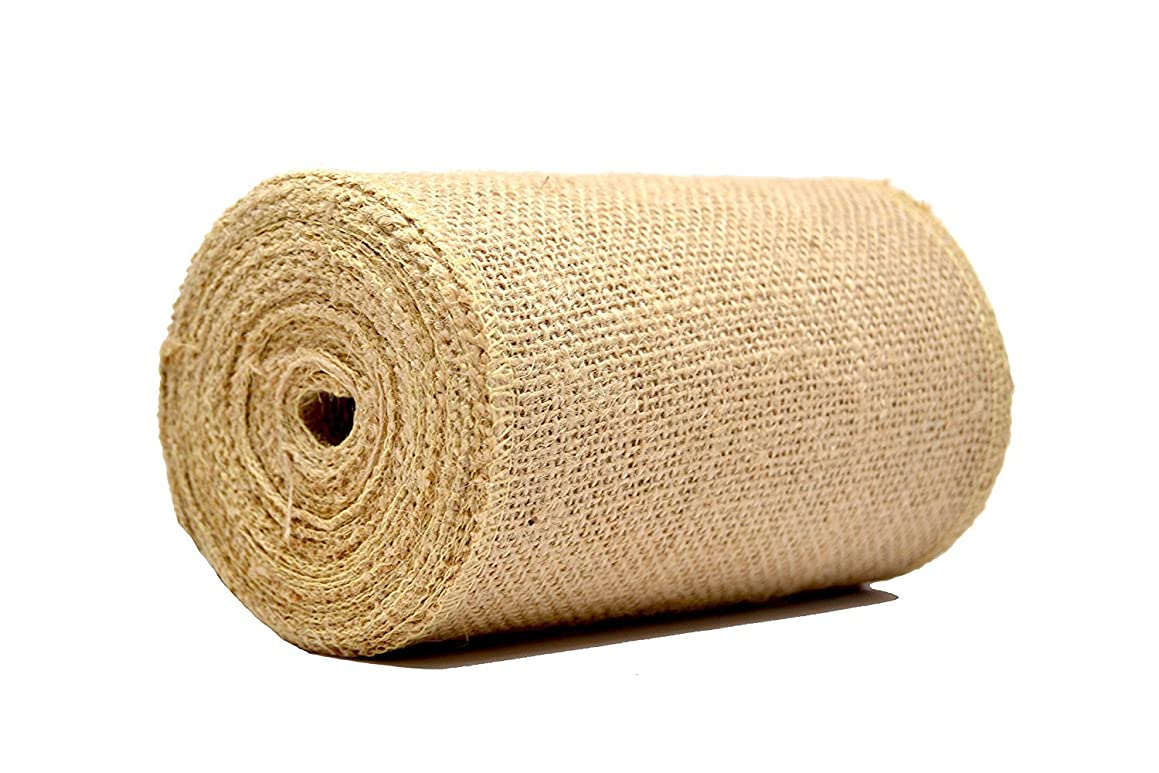 CTY Craft 6 Inch Wide Rustic Wedding Natural Jute Ribbon Burlap Fabric Hessian Linen Roll Gift Wrap Tablecloth Wedding Decorative Accessories