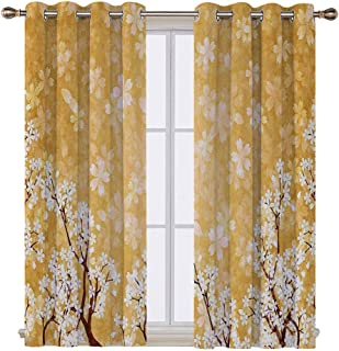SATVSHOP Hugo Short valances Curtain Windows Treatment for Kitchen Living Room - 55W x 72L Inch-Floral TRE Blossoms Buds Flowers of Spring Season Pedals Bodi in Wind Image Yellow and White.