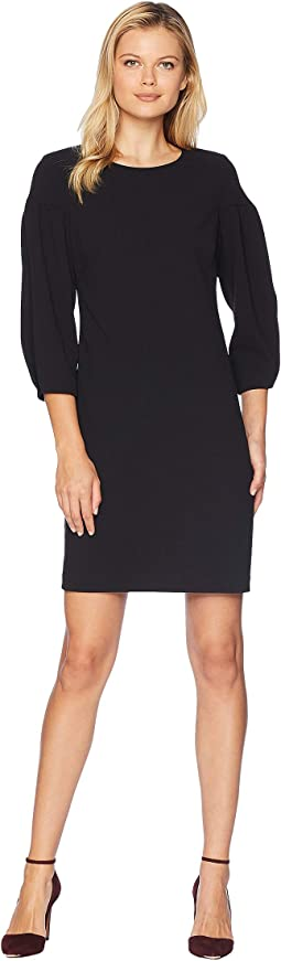 Bubble Sleeve Crepe Ponte Dress