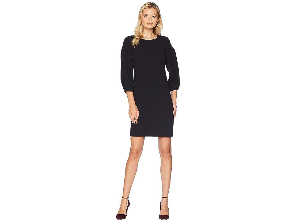 Vince Camuto Bubble Sleeve Crepe Ponte Dress (Rich Black) Women