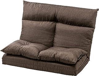 サンワダイレクト ソファーベッド 座椅子 全長220cm 5段階 リクライニング 折りたたみ 2人掛け リクライニングソファー ブラウン 150-SNCF014