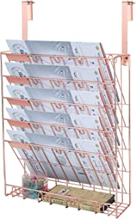 Samstar Wall File Holder Organizer, Mesh Metal Door Wall Mounted Paper Document Holder for Office Home 6 Tier,Rose Gold