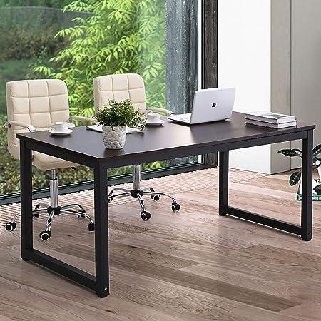 "Modern Computer Desk 63"" Large Office Desk Writing Study Table for Home Office Desk Workstation Wide Metal Sturdy Frame Thicker Steel Legs, Black"