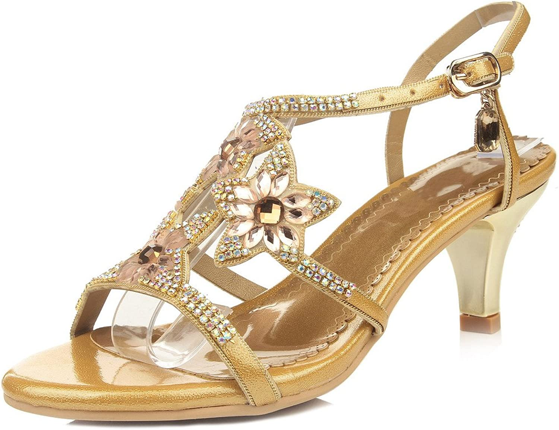 LizForm Womens Strappy Rhinestone Dress Sandal Low Heel Open Toe Evening shoes