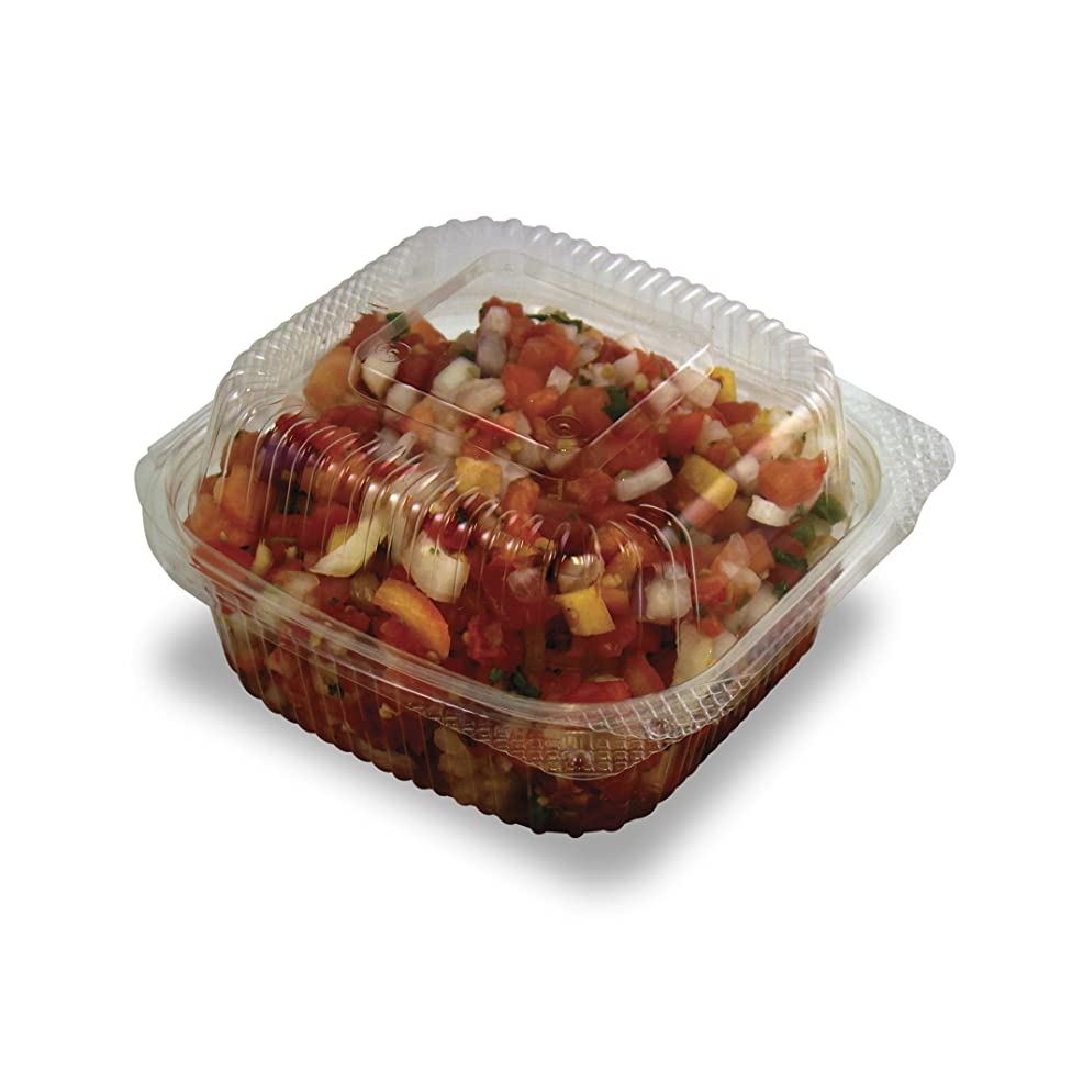 Jaya 100% Compostable Clear PLA Hinged Clamshell, 6 X 6 -Inch, 240-Count Case