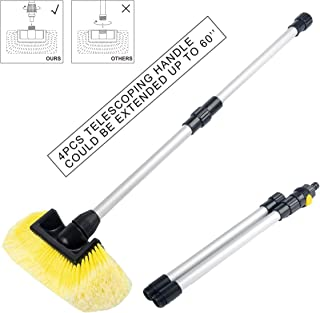 SENGO Car Wash Brush with 10'' Lock type Soft Bristle Brush and 60'' Dismountable Pole with on/off switch for maximum cleaning