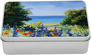 Lunarable Flower Metal Box, Bouquet of White Roses with Green Leaves Background Painting Effect View, Multi-Purpose Rectangul