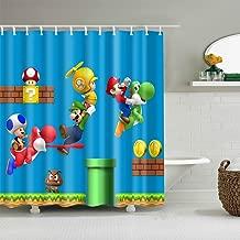 Riyidecor Kid Cartoon Shower Curtain Waterproof Polyester Fabric Print Boy Bathroom Drape for Dinosaur Super Mario Blue 66 x72 inch