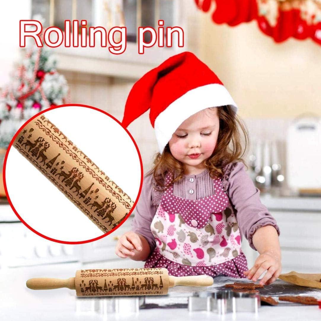 goodjinHH Weihnachten Teigroller 38cm,Backrolle aus Buchenholz zum Teigrollen Geschnitzt Nudelholz Pr/ägerolle K/üchenwerkzeug f/ür K/üchen Cookie B/äcker F teigroller weihnachten, Gelb