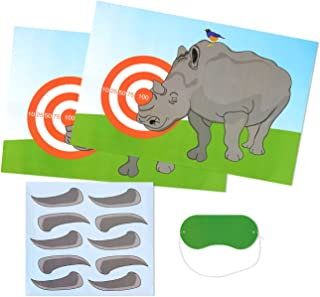 Best Paper Greetings Children Party Games - Pin The Horn on The Rhino, Birthday Party Games, Kids Activities, Includes 2 Posters, 10 Horn Stickers 1 Blindfold Mask, 7 x 3.1 Inches